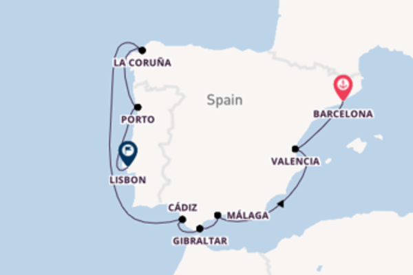 11 day cruise from Barcelona to Lisbon