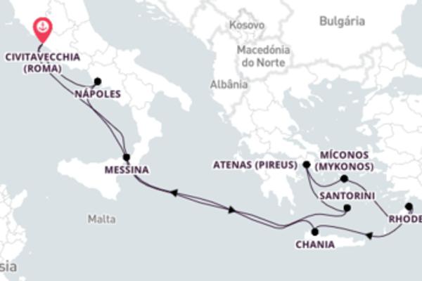 Incrível cruzeiro de 11 dias até Civitavecchia (Roma)
