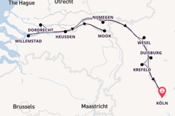 Eindrucksvolle Kreuzfahrt über Heusden, Niederlande ab Köln, Deutschland