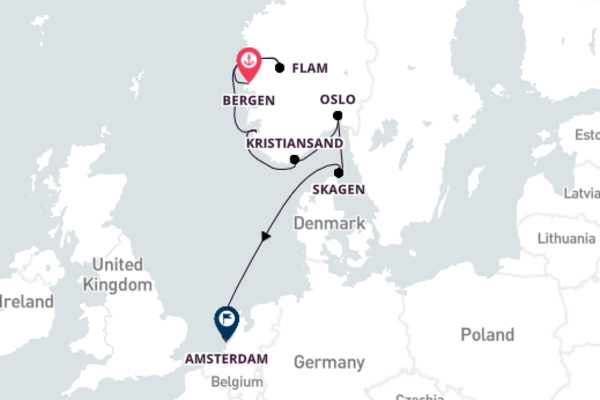 Traveling from Bergen to Amsterdam with Viking Sky