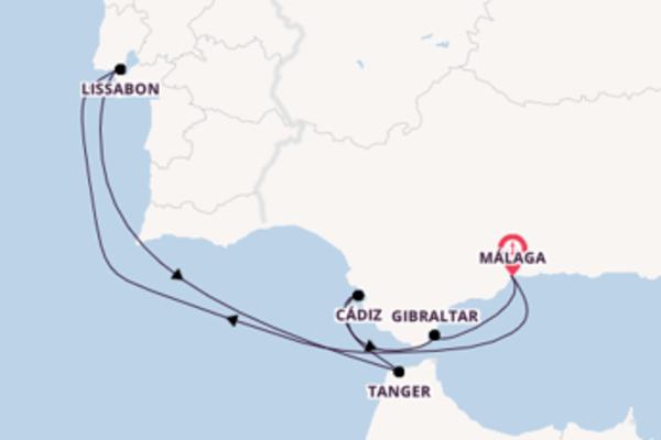 8-tägige Kreuzfahrt bis Málaga