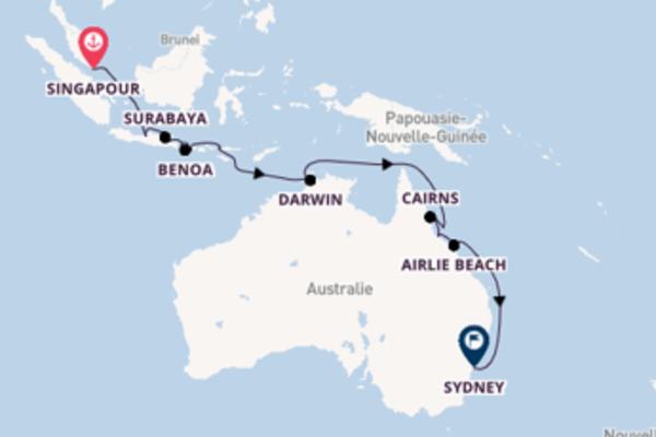 Celukan Bawang, depuis Singapour à bord du bateau Seabourn Ovation