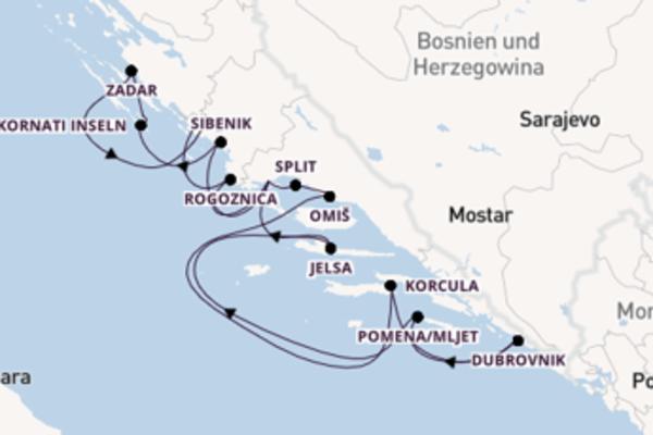 15 Tage auf der MS Dalmatia verbringen