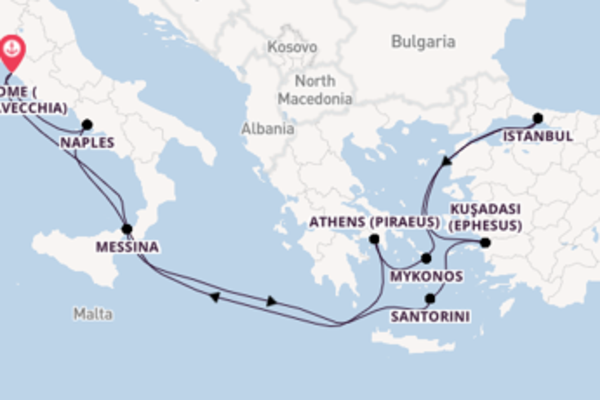 Mesmerising journey from Rome (Civitavecchia) with Celebrity Cruises