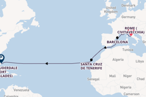 Expedition with Celebrity Cruises from Rome (Civitavecchia) to Fort Lauderdale (Port Everglades)