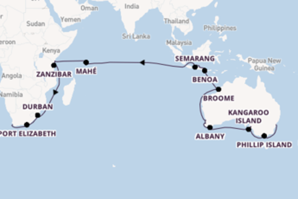Cruise in 52 dagen naar Kaapstad met Seabourn