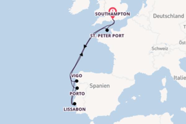 Von Southampton über Porto in 8 Tagen