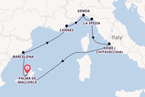 8 day cruise on board the MSC Grandiosa from Palma de Mallorca