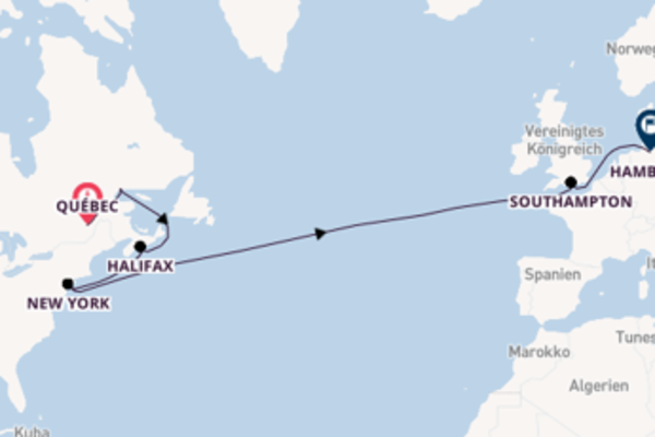 Transatlantikkreuzfahrt ab Québec
