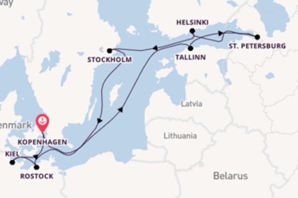 Cruise naar Kopenhagen via Stockholm