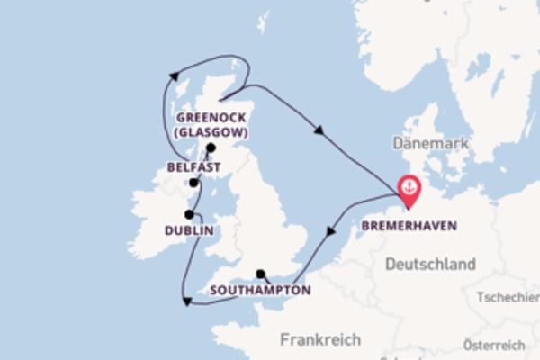 Faszinierende Kreuzfahrt über Belfast ab Bremerhaven
