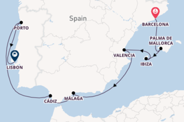 Cruise with Celebrity Cruises from Barcelona to Lisbon