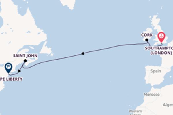 Navigando da Southampton (London) verso Cork
