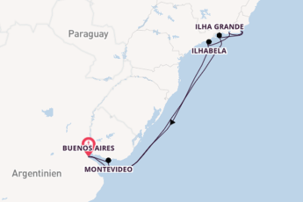 10-tägige Kreuzfahrt bis Buenos Aires