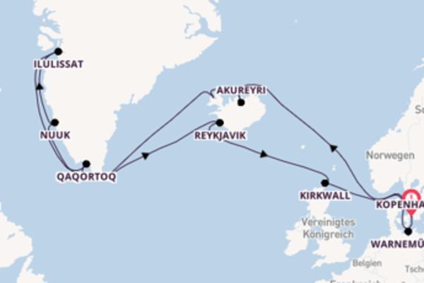 In 22 Tagen nach Kopenhagen über Reykjavik