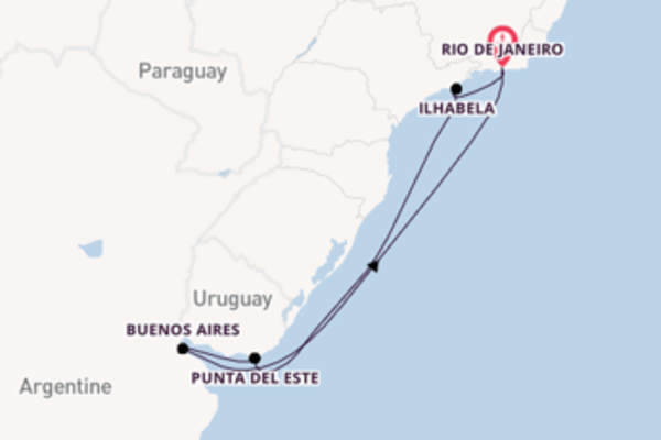 9 jours de navigation à bord du bateau MSC Preziosa vers Rio de Janeiro