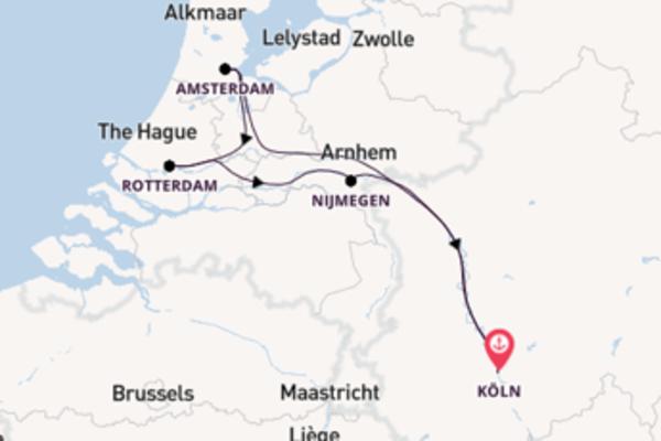 In 5 Tagen nach Köln über Rotterdam