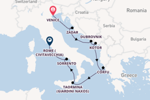 Cruise from Venice to Rome (Civitavecchia) via Zadar