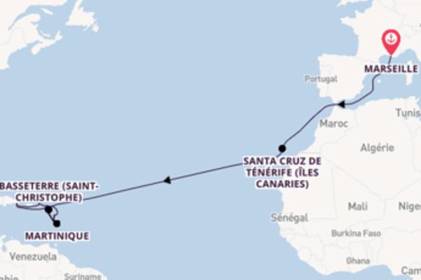 20 jours de navigation à bord du bateau Costa Fortuna vers Pointe-à-Pitre