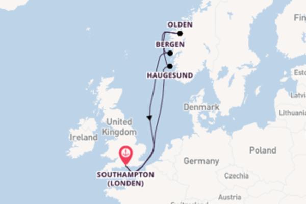Vaar met het MSC Magnifica naar Southampton (Londen)