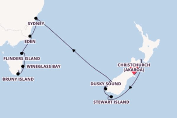 16 day expedition from Christchurch to Hobart, Tasmania
