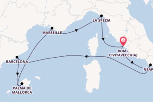 Wunderbare Kreuzfahrt über Barcelona nach Rom (Civitavecchia)