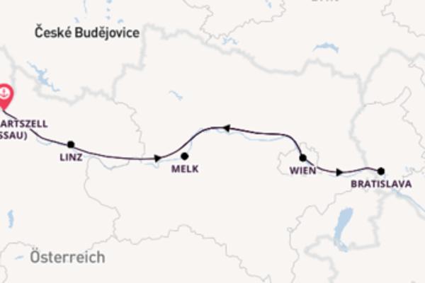 6-tägige Kreuzfahrt bis Engelhartszell (Passau)