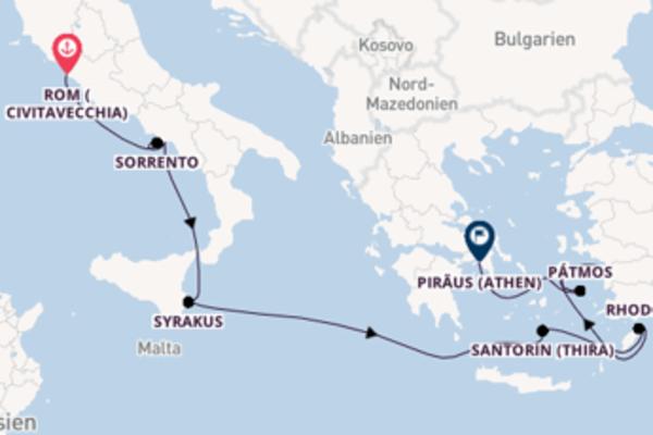 In 11 Tagen nach Piraeus über Mykonos