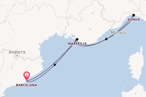 Großartige Kreuzfahrt über Marseille nach Barcelona