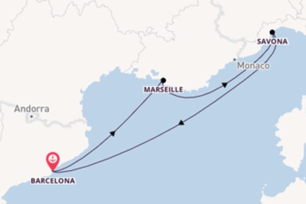 Geniet van een 5-daagse cruise naar Barcelona