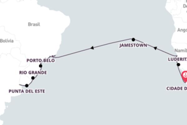 Aventura de 27 dias a bordo do Seven Seas Voyager