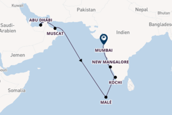 16-tägige Kreuzfahrt von Dubai nach Mumbai