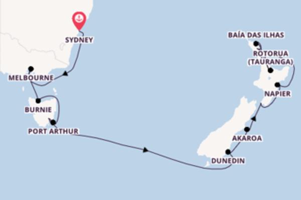 Espetacular cruzeiro de 17 dias até Auckland
