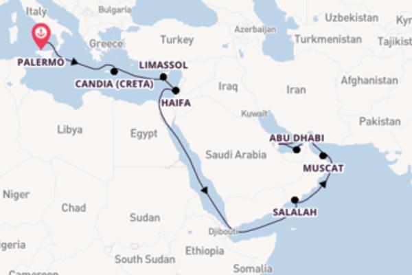 Fiabesca crociera di 20 giorni passando per Abu Dhabi