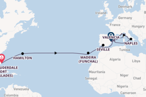 Trip with Cunard from Fort Lauderdale (Port Everglades) to Barcelona