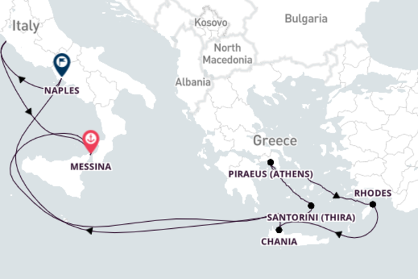 Majestic Santorini from Rome 11-Day Voyage