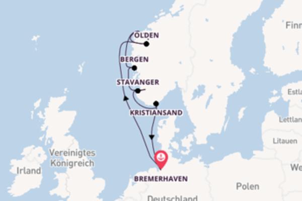 In 7 Tagen nach Kristiansand über Bergen