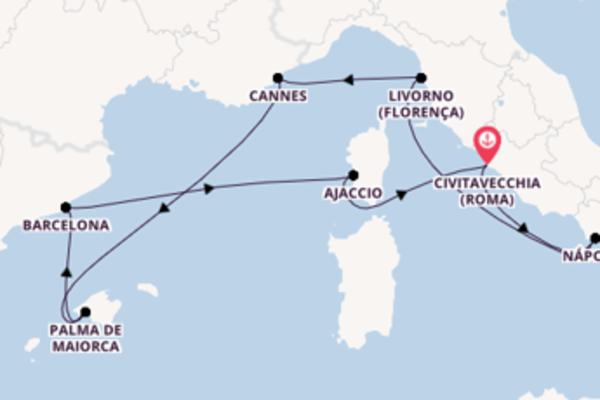Jornada de 8 dias até Civitavecchia (Roma) com o Norwegian Epic