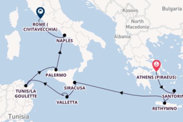 11 day cruise to Rome (Civitavecchia) from Athens (Piraeus)