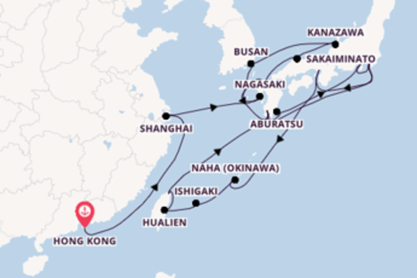 Keelung depuis Hong kong pour une croisière de 29 jours