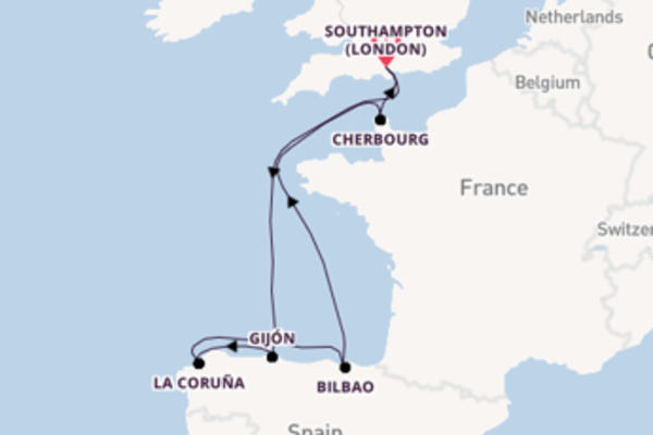 8 day cruise on board the Britannia  from Southampton (London)