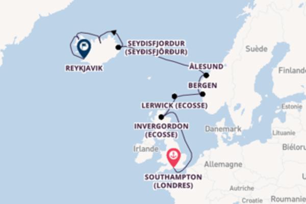 Agréable croisière vers Reykjavik via Bergen