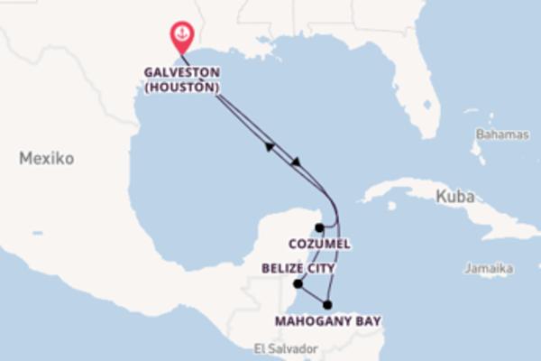 Von Galveston über Mahogany Bay in 8 Tagen