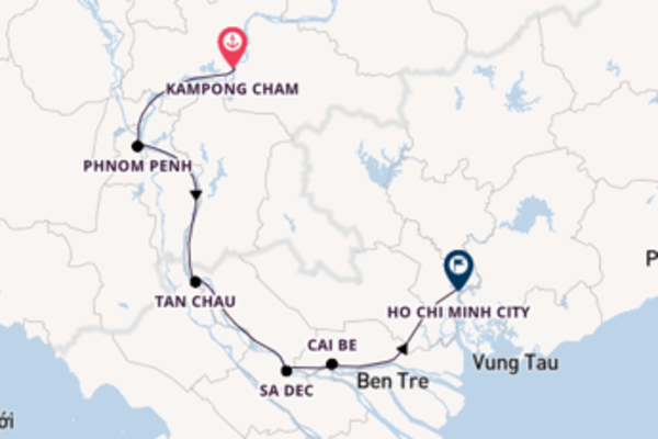 Cruising with the Viking Mekong  to Ho Chi Minh City from Kampong Cham