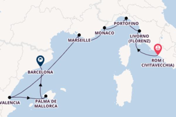Civitavecchia (Rom), Palma de Mallorca und Barcelona erleben