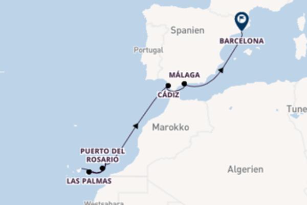 Spannende Kreuzfahrt von Santa Cruz de Tenerife nach Barcelona