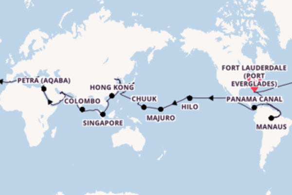 Magnificent expedition from Fort Lauderdale (Port Everglades) with Holland America Line
