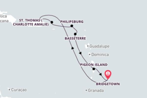 Se aventure nas ilhas do Caribe com saída de Barbados