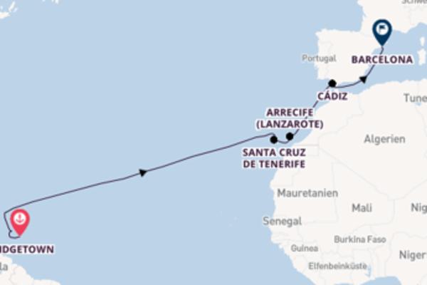 Eindrucksvolle Kreuzfahrt über Arrecife (Lanzarote) nach Barcelona