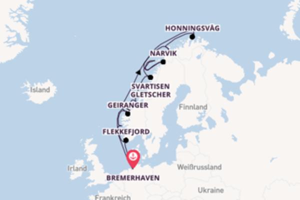 Wunderbare Kreuzfahrt über Svartisen Gletscher ab Bremerhaven